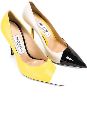 Jimmy Choo Asymmetrical Love 100 Heel in Black, White & Fluo Yellow | FWRD