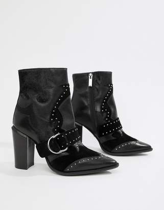 Bronx black leather studded heeled ankle boots