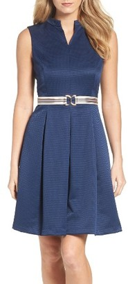 Women's Ellen Tracy Belted Fit & Flare Dress $108 thestylecure.com