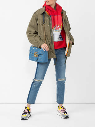 Fake logo print military jacket