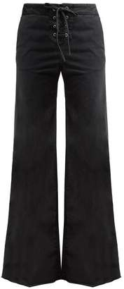 Nili Lotan Lennon High Rise Lace Up Jeans - Womens - Dark Grey