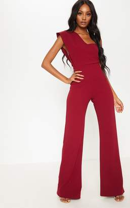 PrettyLittleThing Burgundy Drape One Shoulder Jumpsuit