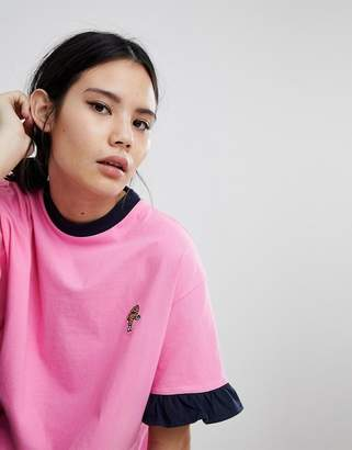 Lazy Oaf Oversized T-Shirt With Chicken Drumstick Patch