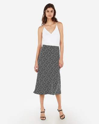Express Printed Satin Midi Skirt
