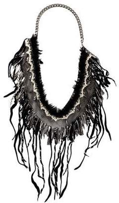 Chanel Mesh Chain & Fabric Runway Collar Necklace