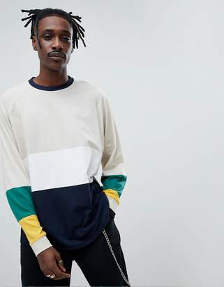 Asos DESIGN oversized long sleeve t-shirt with bright color blocking