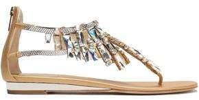 Rene Caovilla Rene' Caovilla Crystal-Embellished Metallic Leather Sandals