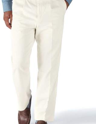 Charles Tyrwhitt White classic fit single pleat washed chinos
