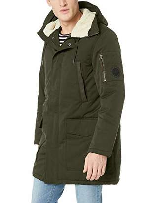 Armani Exchange A|X Men's Faux-Wool Hood Zip-Up Trenchcoat