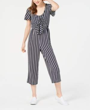 Crystal Doll Juniors' Cropped Tie-Front Jumpsuit