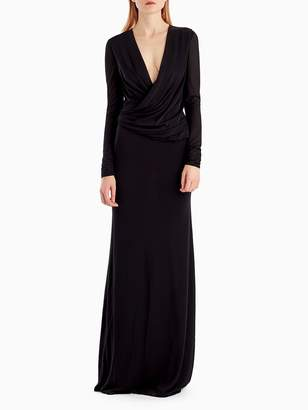 Crepe Jersey V-Neck Long Sleeve Gown