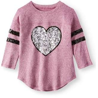 Miss Chievous Miss Chievious Girls' 7-16 Sequin Graphic 3/4 Sleeve Varsity Shirt