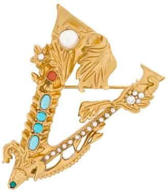 Versace embellished V brooch