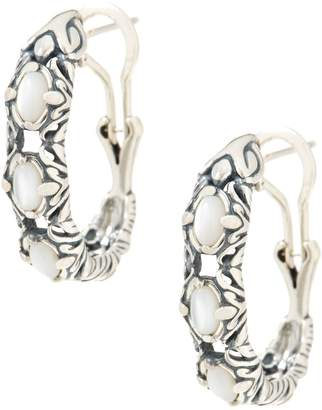 Carolyn Pollack Natural Beauty Sterling Silver Gemstone Hoop Earrings
