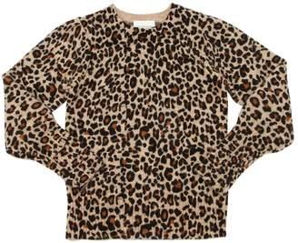 Leopard Print Wool Blend Knit Sweater