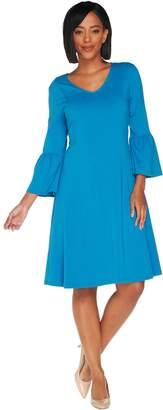 Denim & Co. Petite V-Neck 3/4 Bell Sleeve Fit & Flare Dress