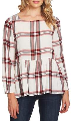 CeCe Plaid Peplum Blouse