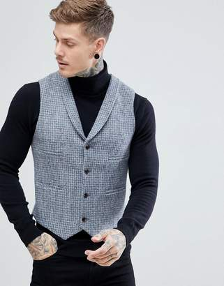 Asos DESIGN Slim Vest Harris Tweed 100% Wool Light Gray Check