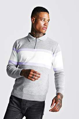 boohoo Muscle Fit Long Sleeve Colour Block Knitted Polo