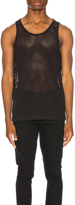 John Elliott Cotton Mesh Tank in Black | FWRD