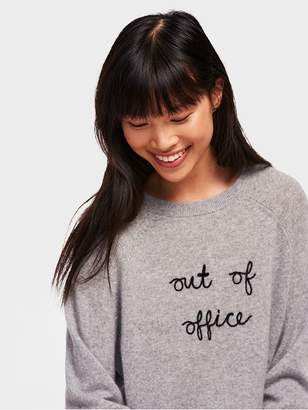 White + Warren Out Of Office Embroidered Cashmere Sweatshirt