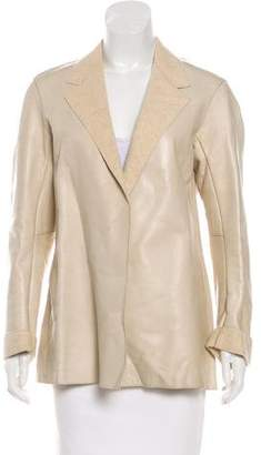 Donna Karan Leather Notch-Lapel Jacket