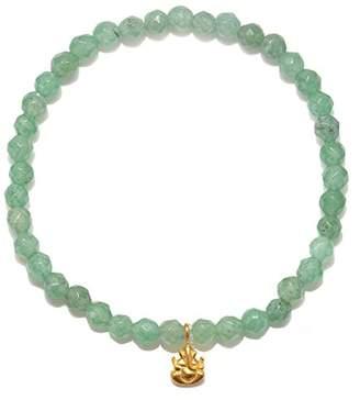 Satya Jewelry Womens Aventurine Gold Ganesha Stretch Bracelet