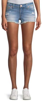 True Religion Joey Distressed Cutoff Denim Shorts
