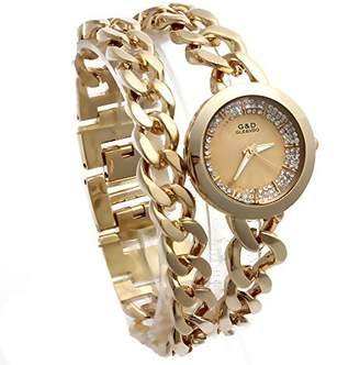 Dolce & Gabbana THE BRAND G&D Women's Double Chain Stainless Steel Band Rhinestone Luxury Quartz Wrist Watches