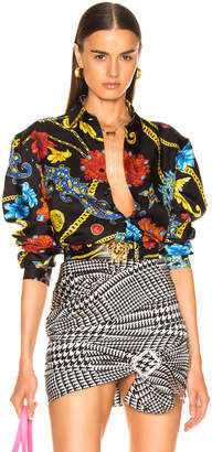 Versace Printed Shirt in Black & Multi   FWRD