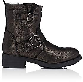 Barneys New York WOMEN'S SHEARLING-LINED LEATHER MOTO BOOTS-SILVER SIZE 6