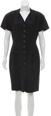 Tahari Short Sleeve Button-Up Knee-Length Dress