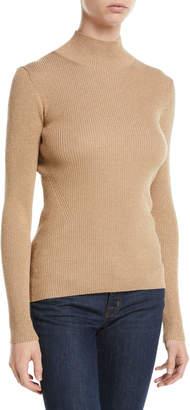 Diane von Furstenberg Tess Metallic Ribbed-Knit Turtleneck Sweater