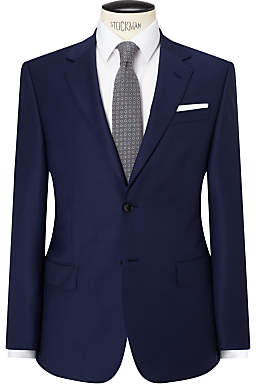 John Lewis Sharkskin Super 120s Wool Regular Fit Suit Jacket, Blue