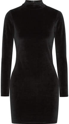 T by Alexander Wang - Cutout Cotton-blend Velvet Turtleneck Mini Dress - Black