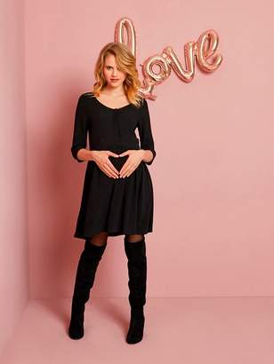 Loose-Fitting Maternity Dress with Buttoned Front - black dark solid