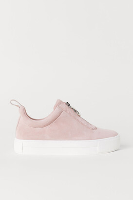H&M Pile-lined Suede Sneakers - Orange