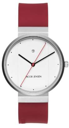 Jacob Jensen New Series Men's Quartz Watch with Dial Analogue Display and Red Rubber Strap 751