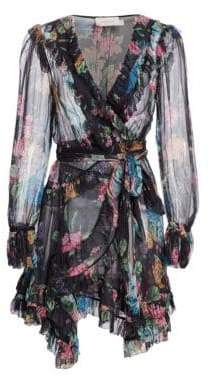 Zimmermann Ninety-Six Floral Ruffle Silk Dress
