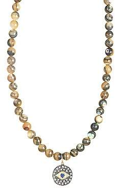 Sydney Evan 14K Yellow Gold, Diamond, Sapphire & Abalone Bead Small Evil Eye Medallion Necklace