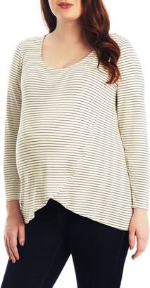 Everly Grey Adriana Stripe Long Sleeve Maternity/Nursing Tee
