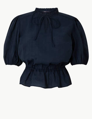 Marks and Spencer Tie Neck Ruched Waist Blouse