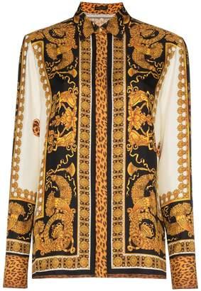 Versace black gold silk print shirt