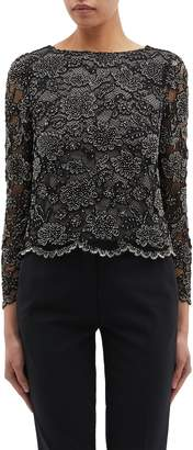 Alice + Olivia 'Amal' scalloped bead lace top