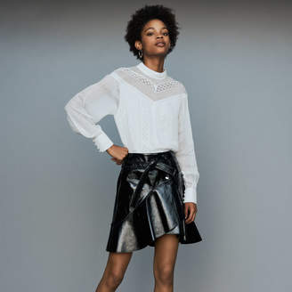Maje Asymmetric skirt in patent leather