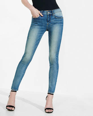 Express Mid Rise Faded Stretch Super Skinny Jeans