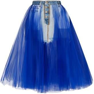 Unravel Stonewash Denim Tulle Skirt