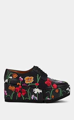 Clergerie Women's Anyang Floral-Embroidered Leather Oxfords - Black