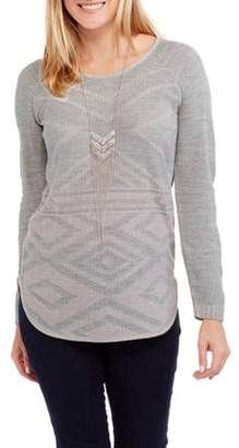 Faded Glory Women's Pointelle Pullover Sweater