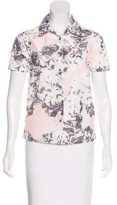 Pink Tartan Floral Print Button-Up Top